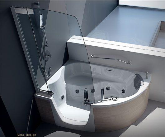 Modern shower furniture modern corner bathtub with shower - Corner bathtub shower combo small bathroom ...