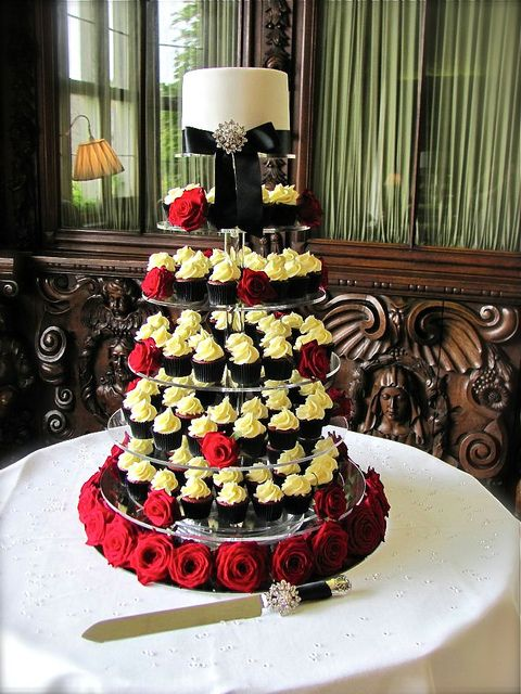 Black White Wedding Cupcake Tower Dressed With Red Roses By Consumedbycake Via Flickr