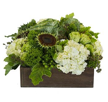 """""""SUMMER GREENS"""" - FRESH ARRANG A whimsical nod to summer, this classic takes shape with sunflower pods, kale, roses, trachelium, hydrangea, seeded eucalyptus berry and greenery in a wooden square box"""