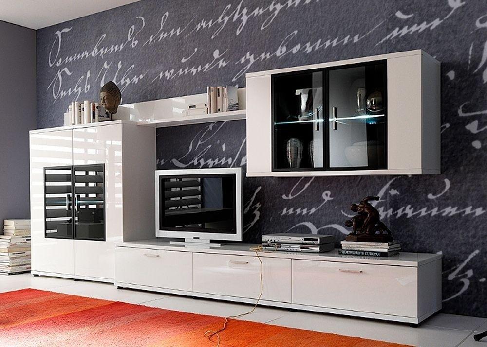 Wohnwand Acorano 3 Schrankwand Anbauwand Weiß Hochglanz 4674 Buy - wohnzimmer weiß hochglanz