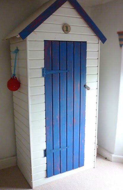 How To Create A Beach Hut Wardrobe From An Ikea Shelf Beach Hut Shed Beach Hut Beach Room