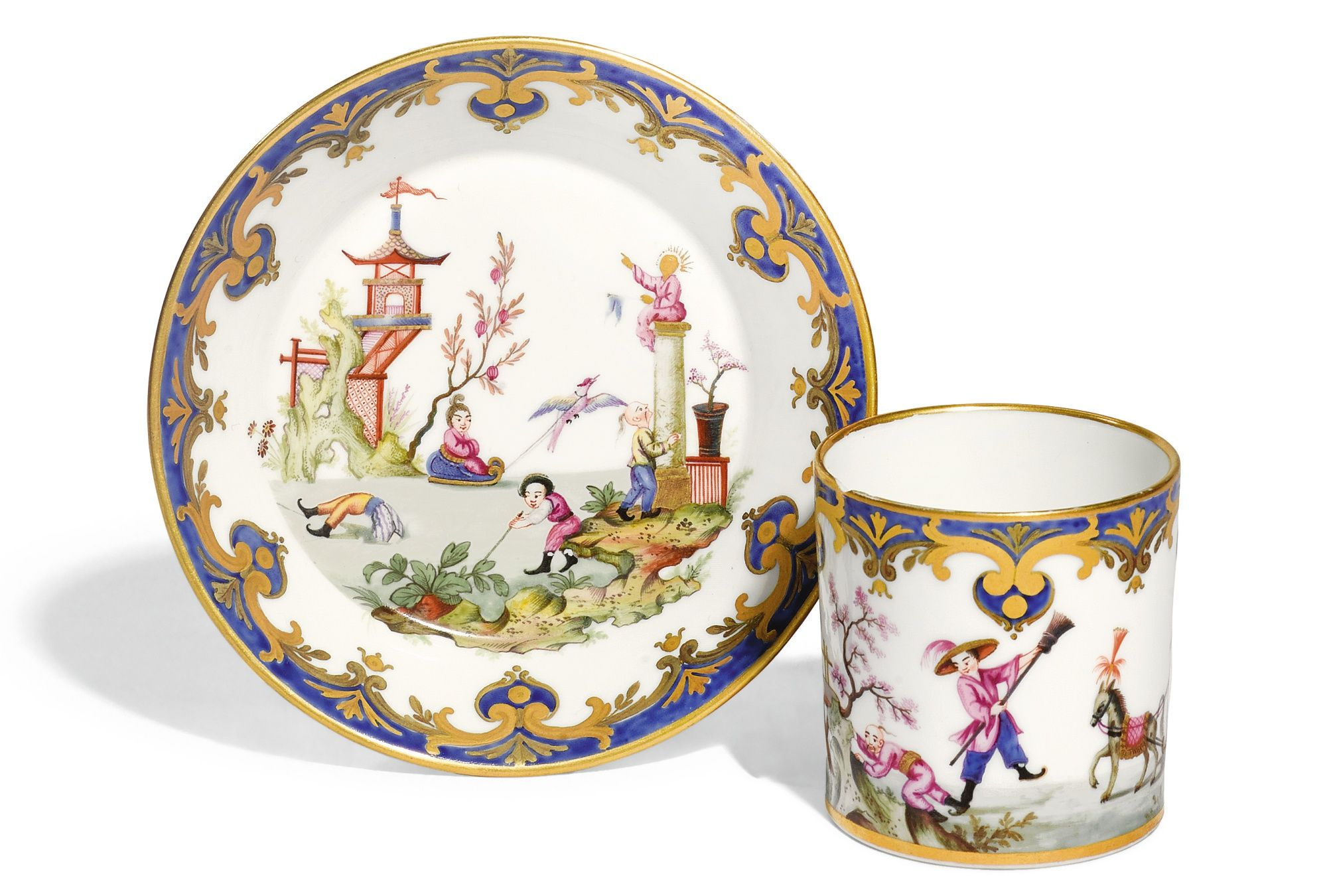 A Sèvres (hard paste) chinoiserie coffee can and saucer