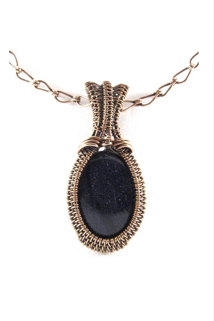 Blue Goldstone Oval Antique Copper Pendant Necklace Wire Wrap ...