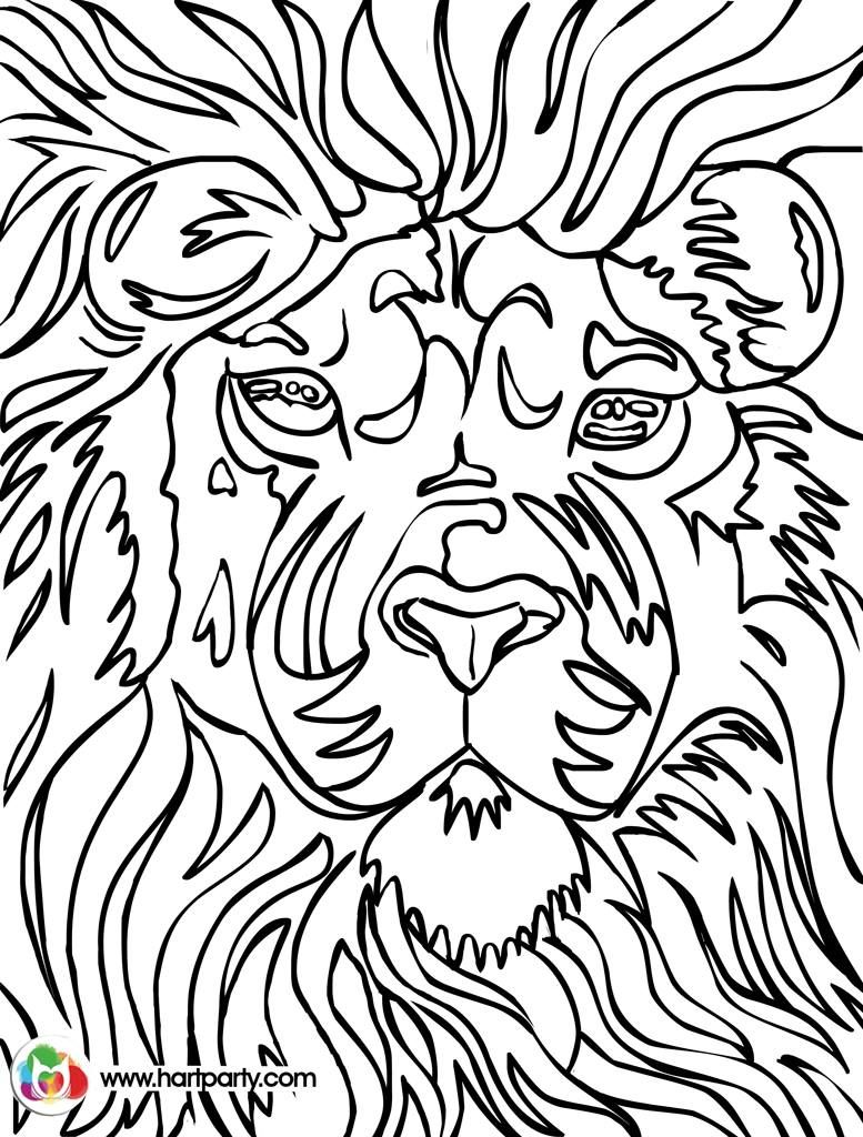 lion trace able coloring page for hart party youtube how to paint