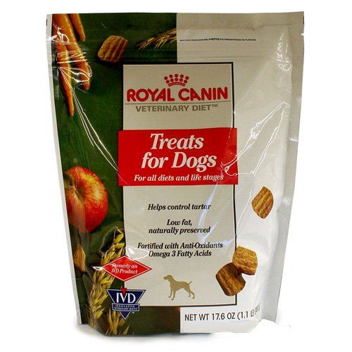 $12.20-$16.99 Royal Canin Treats for Dogs (17.6 oz) - Royal Canin Veterinary Diet Treats are formulated to provide an enjoyable, nutritious and rewarding snack while avoiding excessive calories, fat, salt or common ingredients associated with food tolerance. Now your dog can enjoy having delicious treats along with their complete and well balanced meals. In fact, since there are only 15 calories  ...