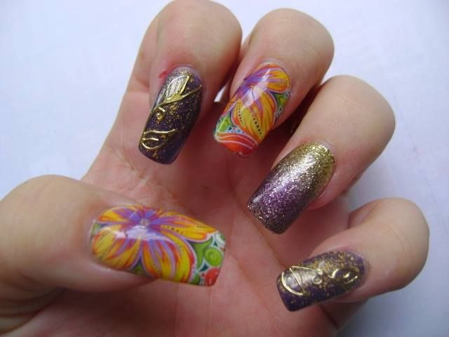 Arty Nails Floral Water Decals Sally Hansen Ombre Nail Sticker Gold Boarder Stickers