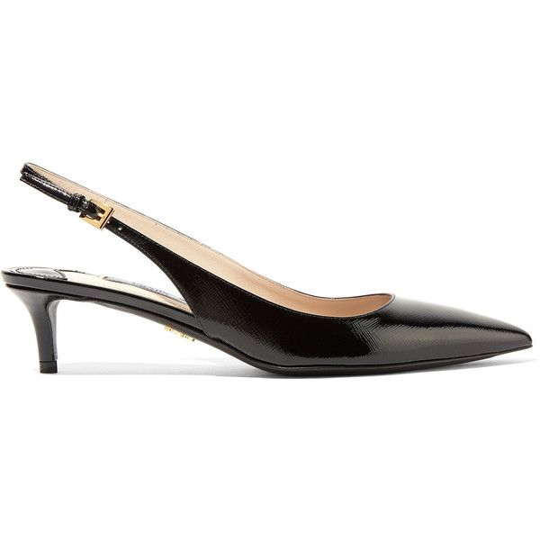 Prada Textured Patent Leather Slingback Pumps 2 115 Pen Liked On Polyvore Featuring Shoes Pumps Heels Black Mid Heel Pumps Sling Back Pumps Kitt Zapatos