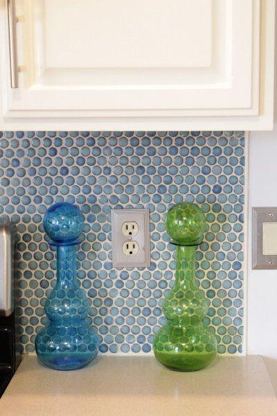Image Result For Blue Multi Color Penny Round Kitchen Backsplash