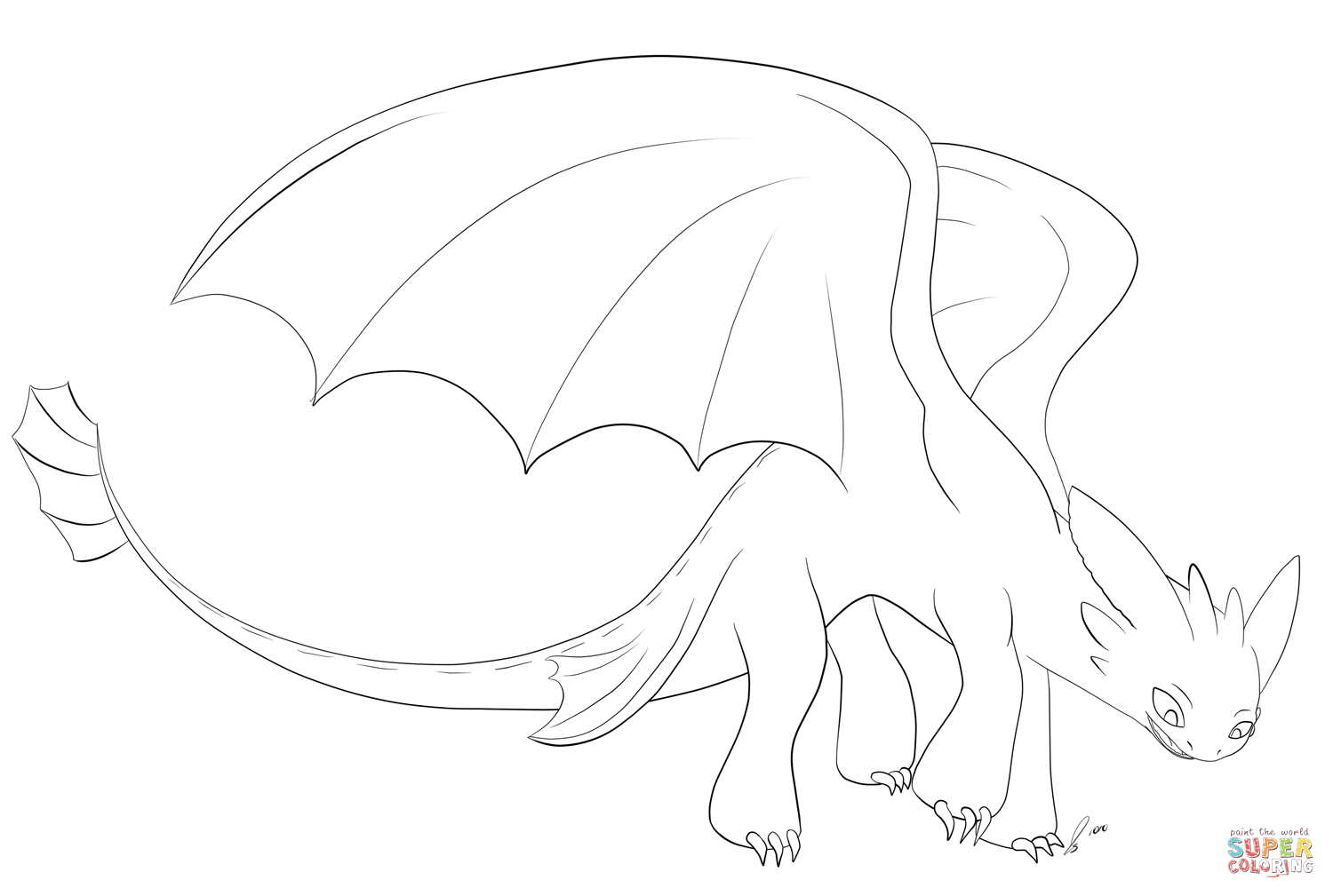 Toothless Coloring Page From How To Train Your Dragon