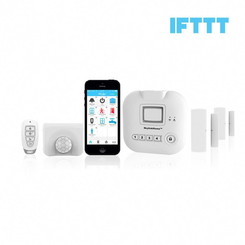 Skylink Wireless Alarm Security System Kit Echo Alexa And Ifttt Compatible Sk 200 The Home Depot Wireless Home Security Systems Home Security Camera Systems Home Security