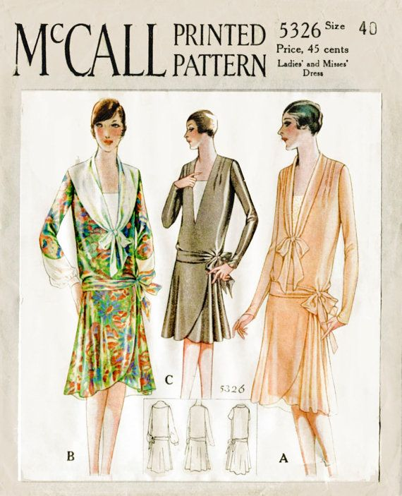 1920s 20s 1928 vintage sewing pattern flapper day dress tie collar ...