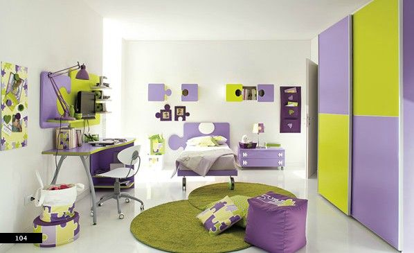 Amazing Kids Bedrooms With Colorful Color Scheme Ideas Fun Green And Purple