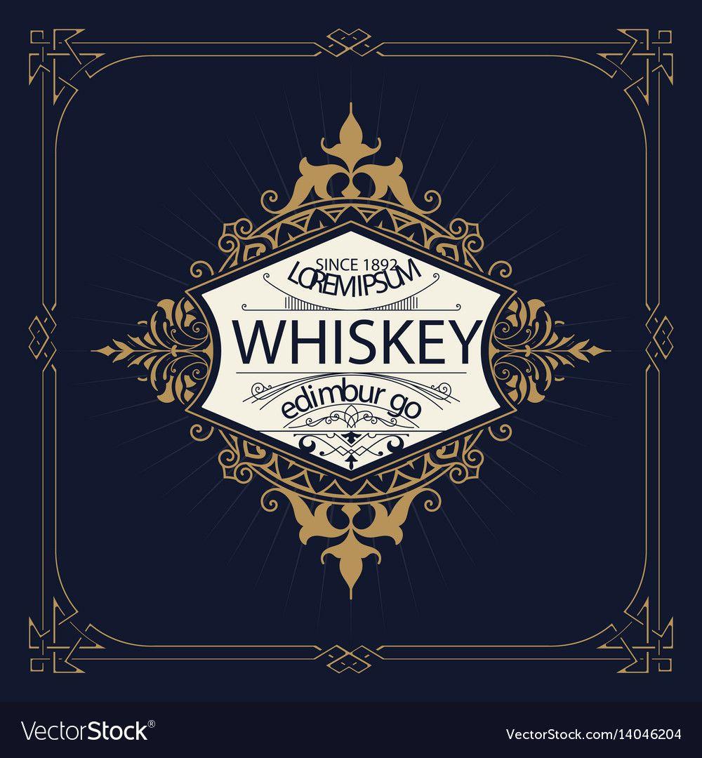 Retro logo for whiskey vector image on Дизайн