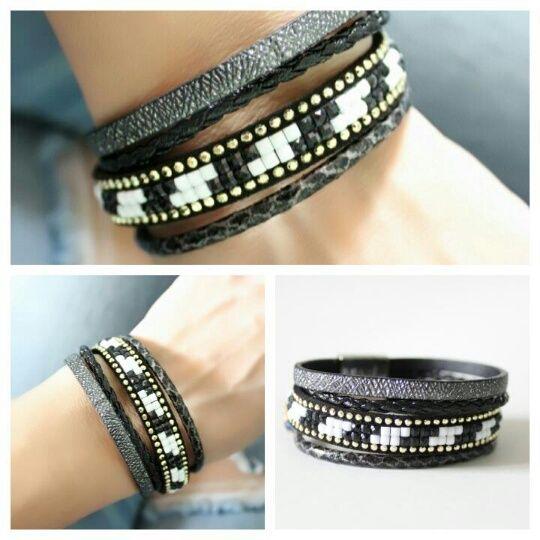 bracelet femme fantaisie noir