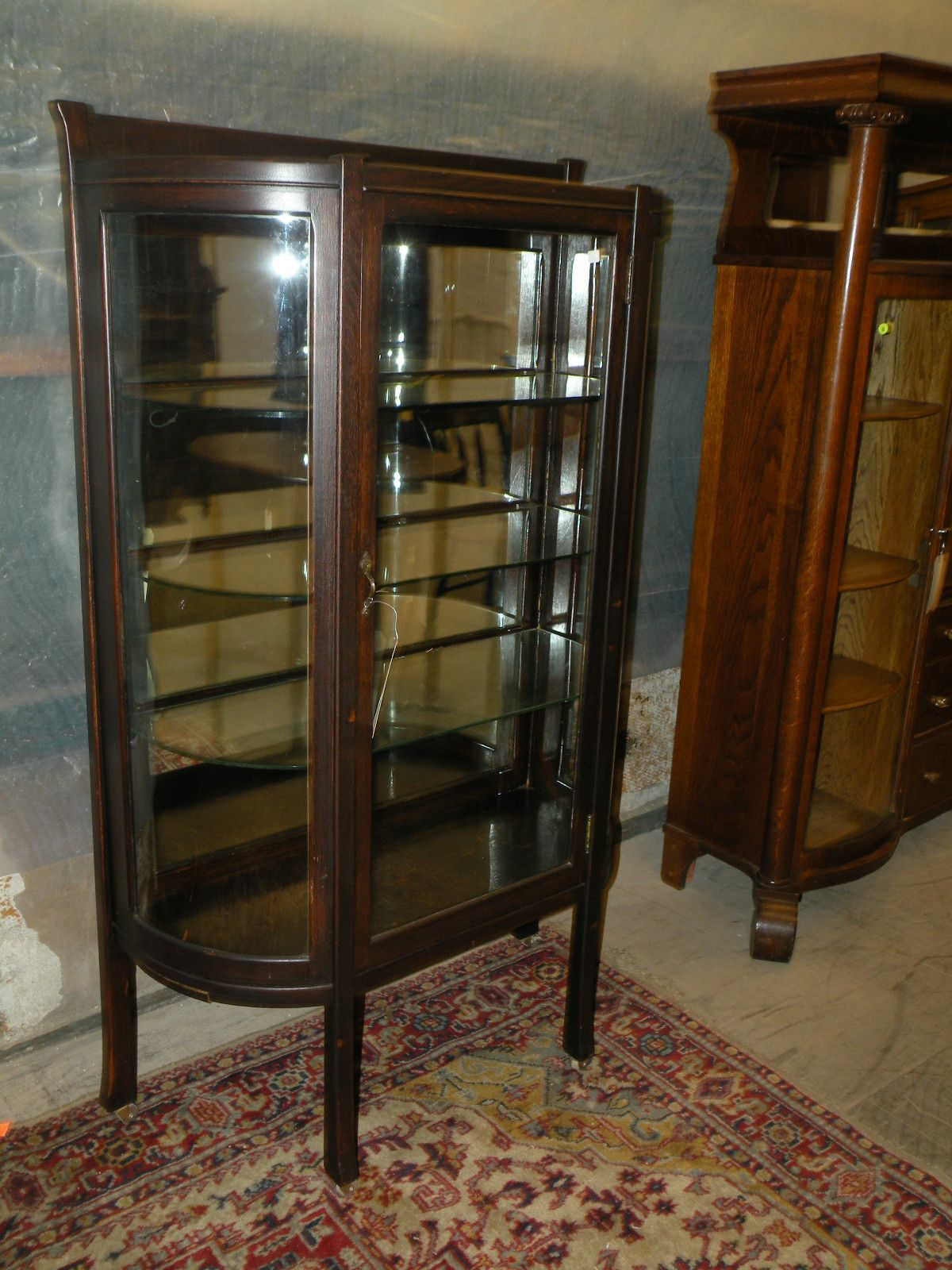 Antique Mission Oak Curved Glass Front Curio Display Cabinet ...