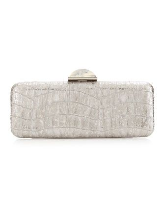 Jessica+Slim+Crocodile-Embossed+Minaudiere,+Silver+by+Overture+Judith+Leiber+at+Last+Call+by+Neiman+Marcus.