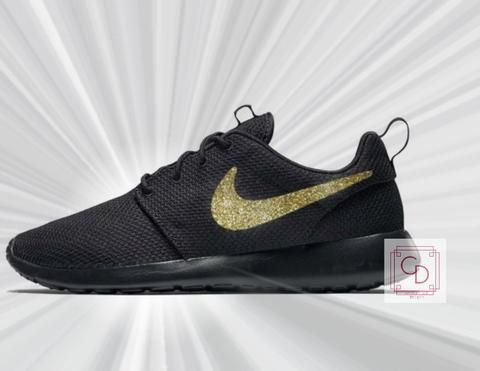 Women s Nike Roshe Two in all Black with Gold Glitter Swoosh detail ... 1b300c4ec4