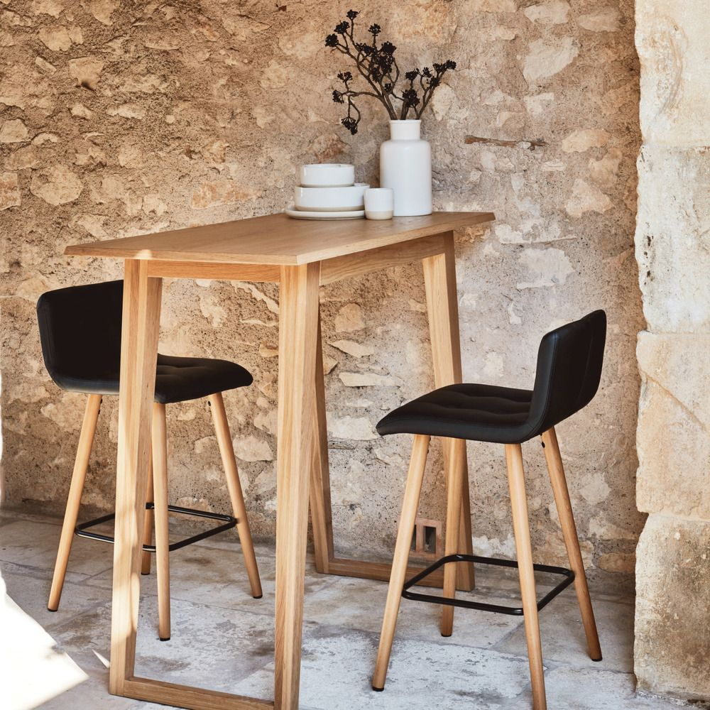 Table Haute Rectangulaire Plaquee Chene L115cm Alinea Chaise Bar Chaise Haute Cuisine Tabouret De Bar