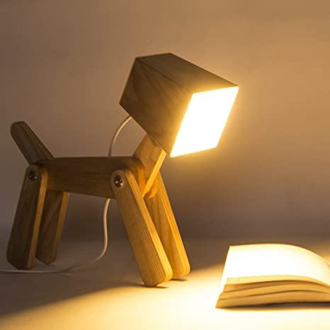 Hroome Modern Cute Dog Adjustable Wooden Dimmable Beside Desk Table Lamp Touch Sensor With Night Light For Bedroom Office Kids Wa In 2020 Lamp Dog Lamp Table Lamp Wood