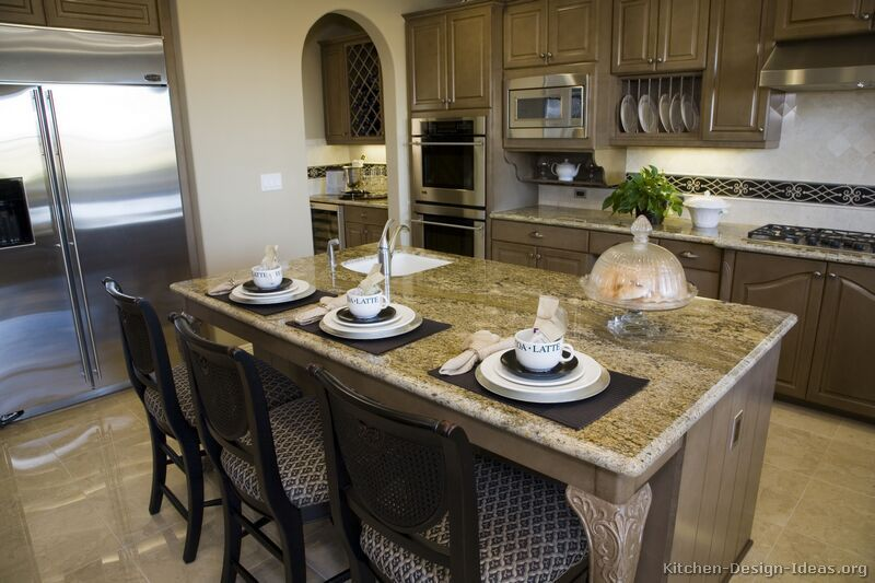 #Kitchen Idea of the Day: Olive brown kitchen cabinets.