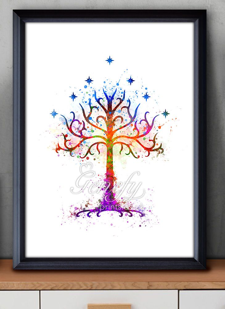 Lord Of The Rings Tree Of Gondor Watercolor Painting Art