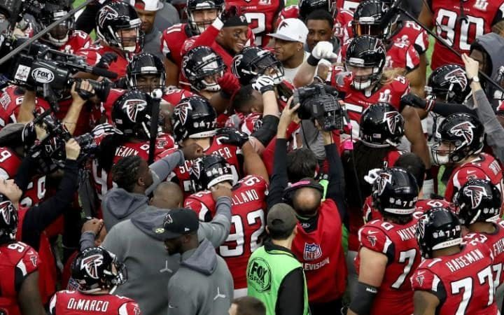 The Atlanta Falcons warm up prior to Super Bowl 51 against the New England Patriots.