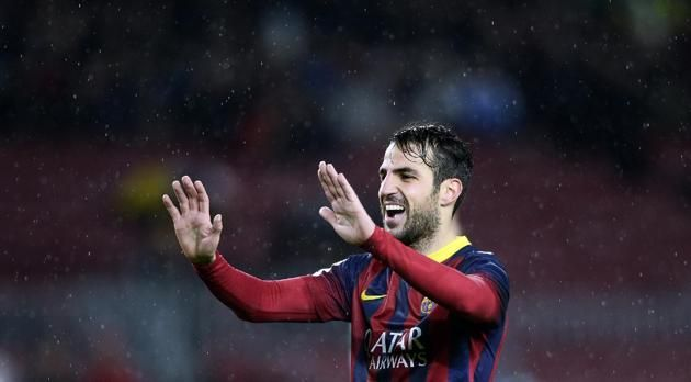 FC Barcelona's Cesc Fabregas reacts after scoring against Elche during a Copa del Rey soccer match at the Camp Nou stadium in Barcelona,...