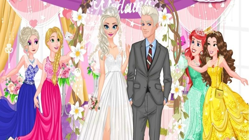 In Ice Princess Wedding, everyone knows Elsa and Jack Frost felt in love from the very first sight. And today the young couple is going to celebrate their love and get married! Let's help beautiful princess Elsa to get ready for this important ceremony. Choose the best wedding dress with gorgeous veil and stylish makeup for Elsa. When princess is ready, start to decorate the wedding room with flowers, cakes and call the guests.