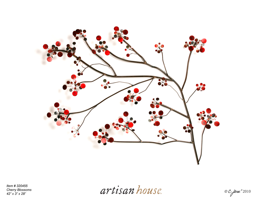 Cherry Blossoms metal wall art by Artisan House jere