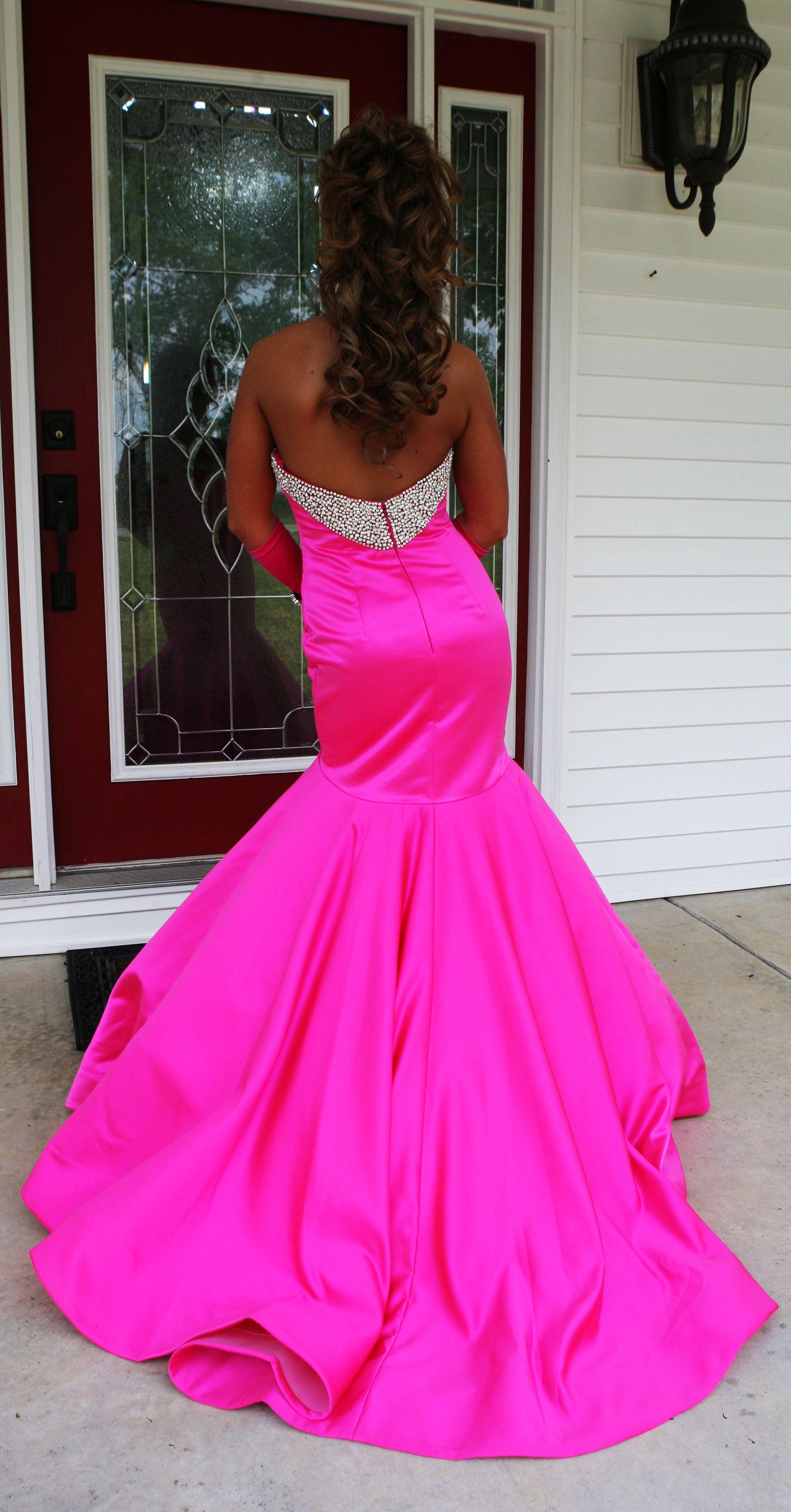 Prom prom mermaid pink rhinestones gorgeous dress formal