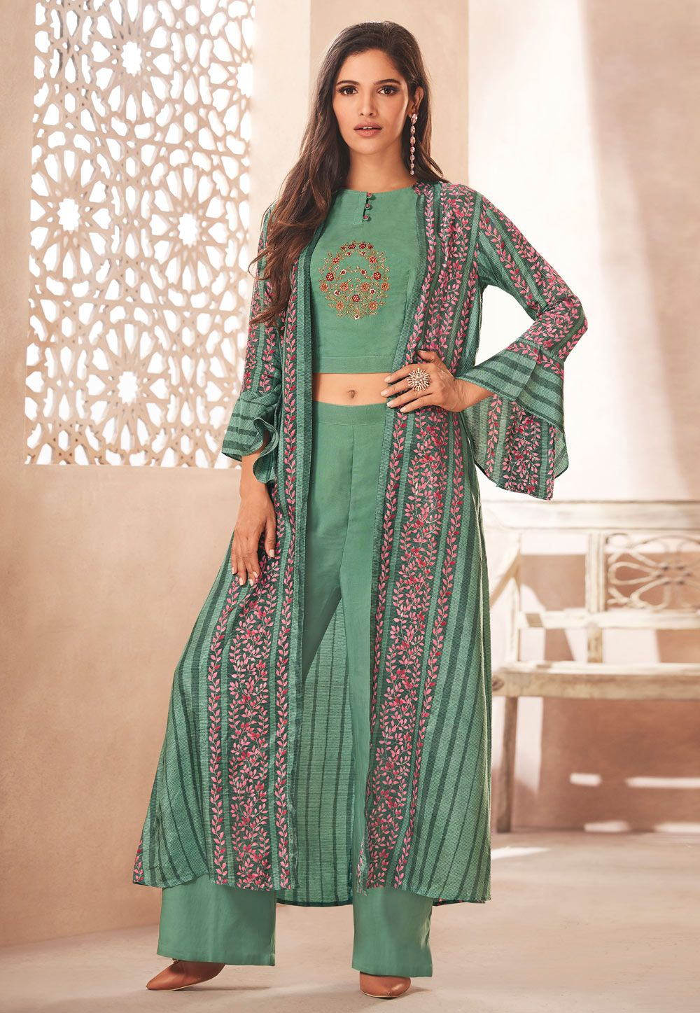 cad973dd655 Buy Sea Green Rayon Readymade Palazzo Suit With Jacket 157562 online at  lowest price from huge collection of salwar kameez at Indianclothstore.com.