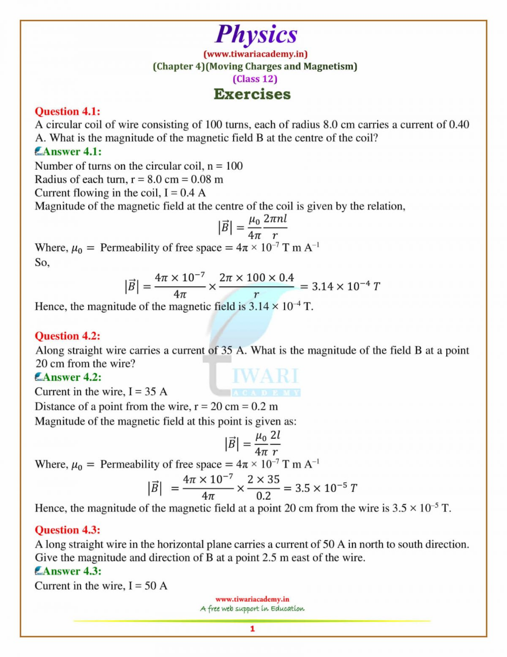 Ncert Solutions For Class 12 Physics Chapter 4 Moving Charges Mag Physics Chapter Solutions [ 1294 x 1000 Pixel ]