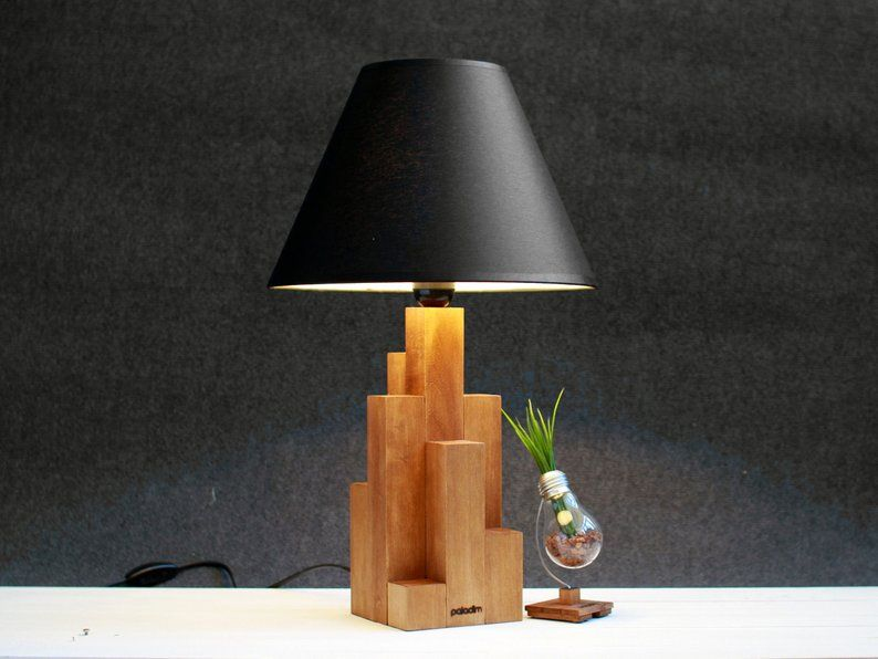 Industrial Style Lamp Industrial Design Wooden Lamp Tall Wood Box Wooden Box Lamp Bedside Lamp Boho Lighting Standing Decor Industrial Style Lamps Lamp Wooden Lamp