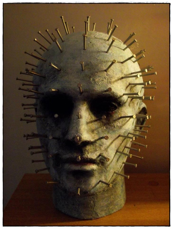Hell Raiser prop. styrofoam head, paint and nails More