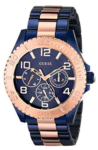 de23bf905d2 GUESS Women s U0231L6 Iconic Blue Multi-Function Two Tone Blue  amp  Rose  Gold-