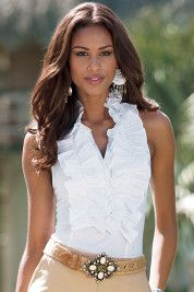 2abdd72e0734d2 love, love this sleeveless ruffle blouse | Steppin out in Style ...