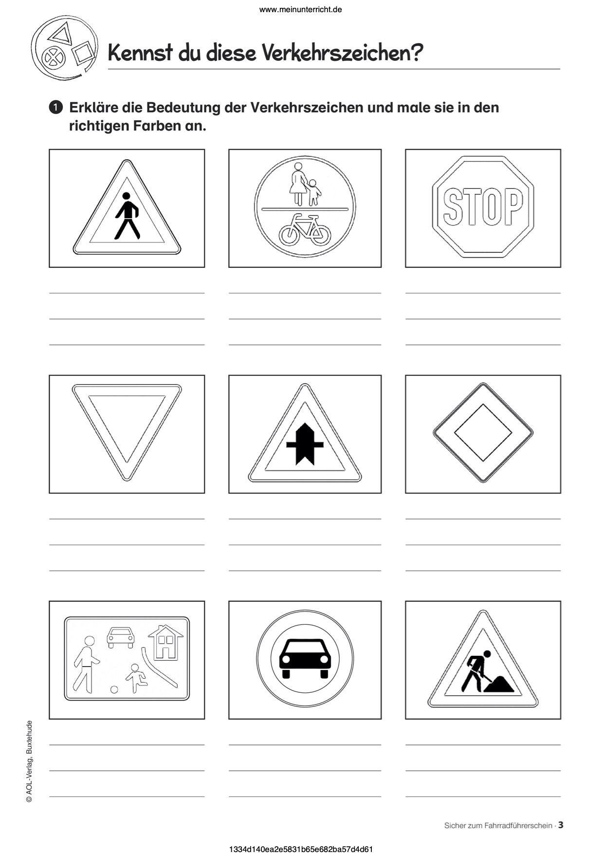 Vorschau Arbeitsblatt   meinUnterricht   Verkehrszeichen lernen ...