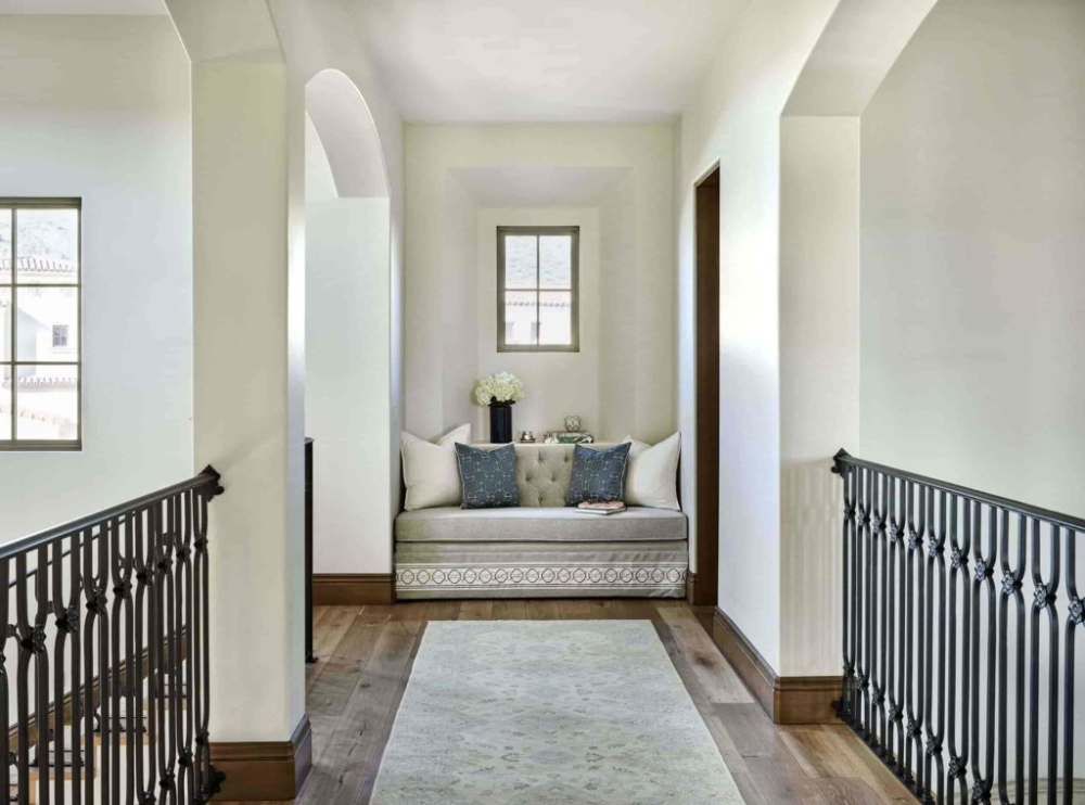 Most Beautiful House Hallway Design Idea In 2020 Rustic Wood Floors Blue And White Pillows Hallway Designs