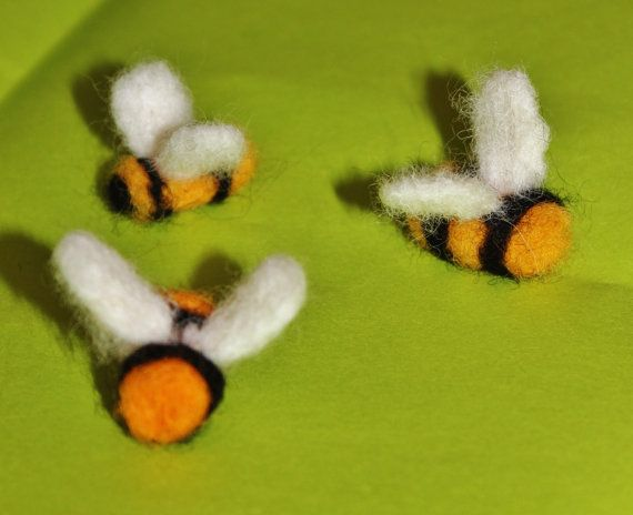 Felted bee set of 3 waldorf inspired felted bee toys for mobile shop for felted bee on etsy the place to express your creativity through the buying and selling of handmade and vintage goods negle Choice Image