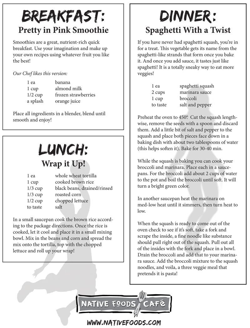 Breakfast Lunch Dinner Recipes Provided To High School Kids Attending A Talk By NBA Star John Salley Native Foods Goal Was Change Their Perception