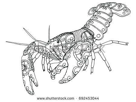 Zentangle Doodle Patterned Fantasy Crayfish, Crawfish, Lobster