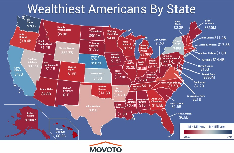 the wealthiest american in every state the geography of wealth inequality doesnt get much attention but its stark there are about 450 billionaires with