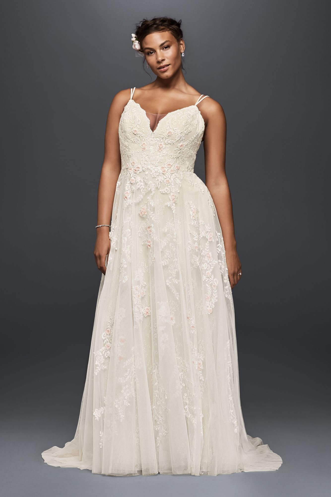 Plus Size Melissa Sweet Spaghetti Straps Long A Line Lace And Tulle Wedding Gowns 8ms251177 Wedding Dress Styles Wedding Dresses Davids Bridal Wedding Dresses