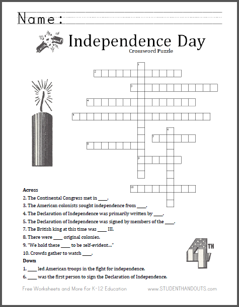 math worksheet : fourth of july crossword puzzle  free to print pdf file  for  : Math Crossword Puzzles Pdf