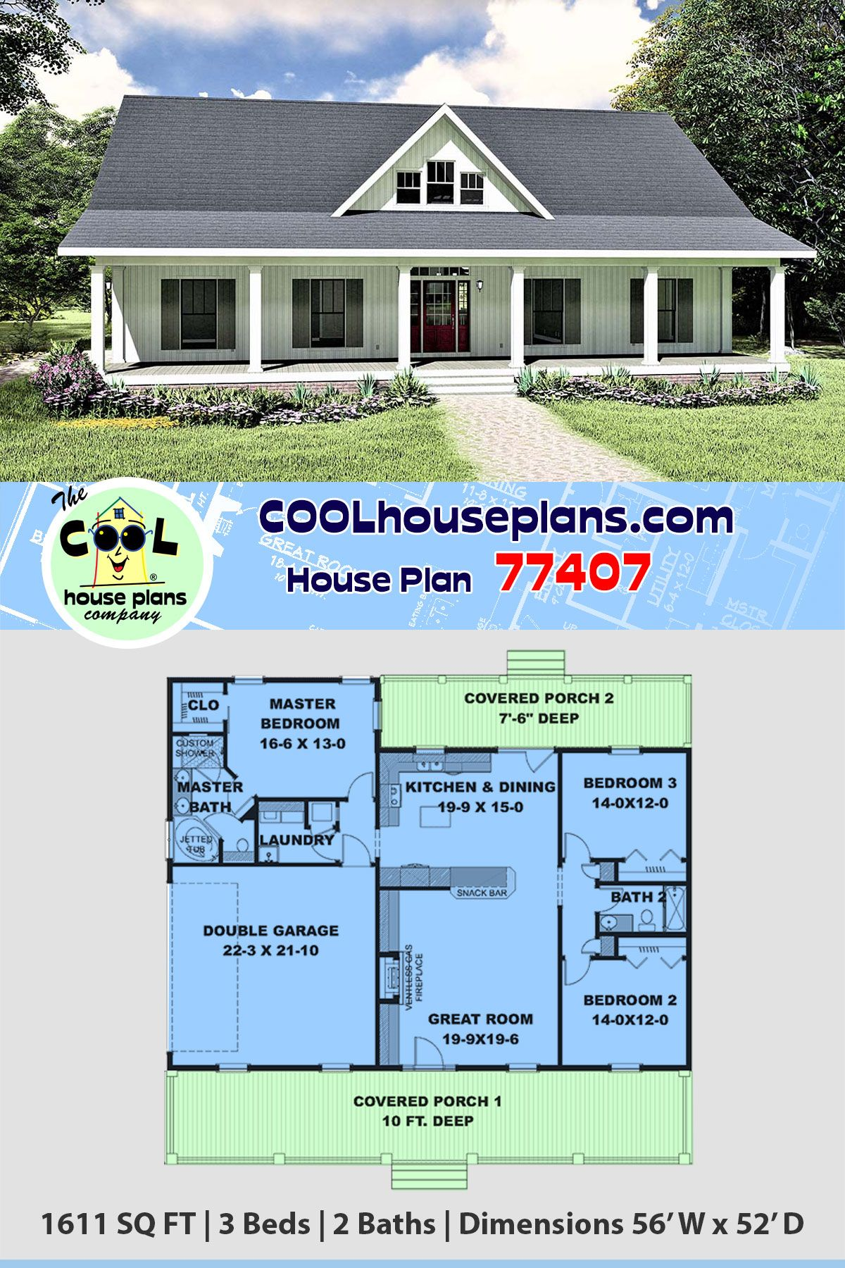 Southern Style House Plan 77407 With 3 Bed 2 Bath 2 Car Garage Ranch House Plans House Plans Country House Plans