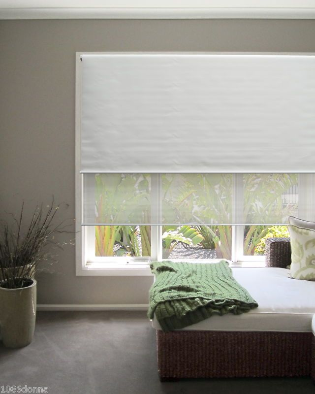 New Dual Day Night Roller Blinds 150 X 210 White Or Latte Other Sizes Available Ebay White Roller Blinds Living Room Blinds Roller Blinds