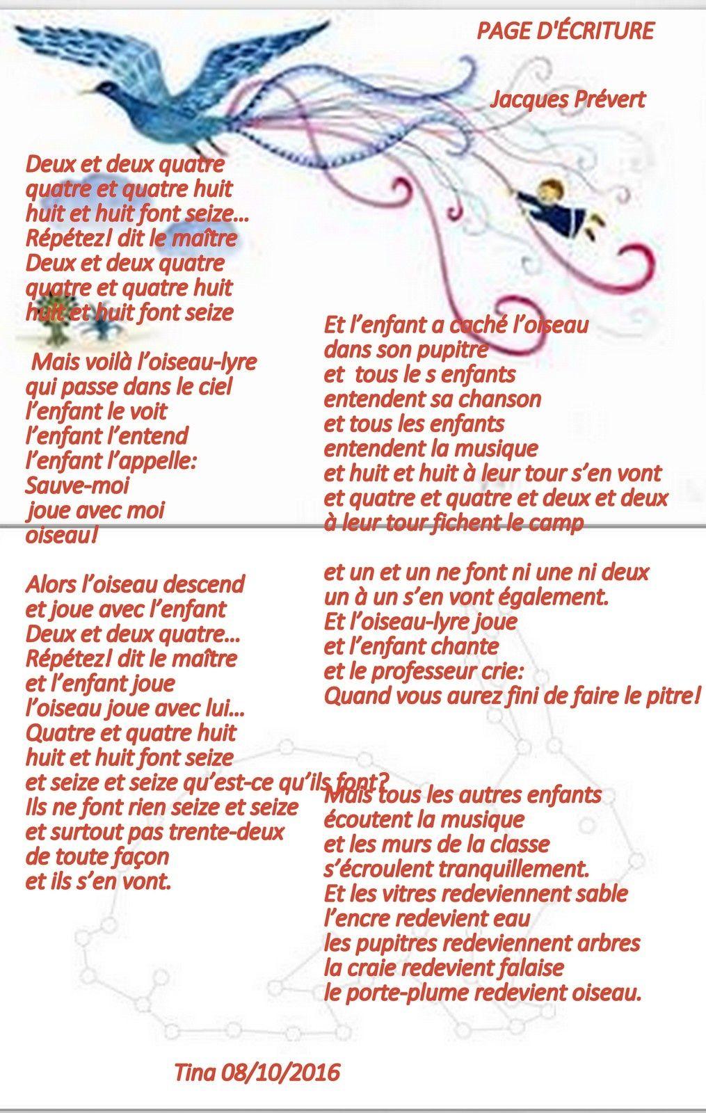 Jacques Prevert Page D Ecriture Cm2 Poesies Comptines