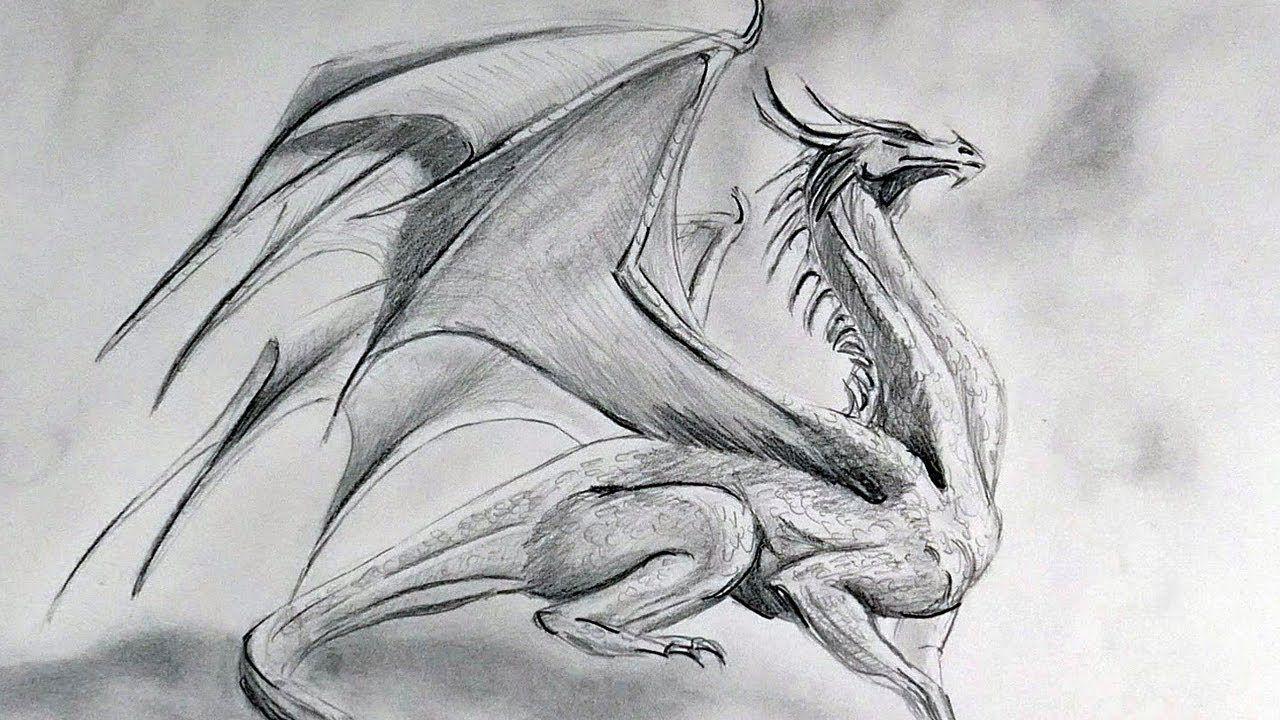 drawing a dragon in graphite pencil