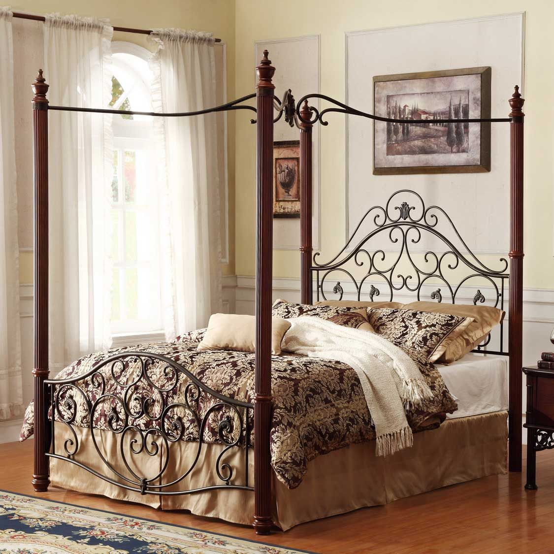 Elegant Princess Red Iron Bed With Canopy Also British