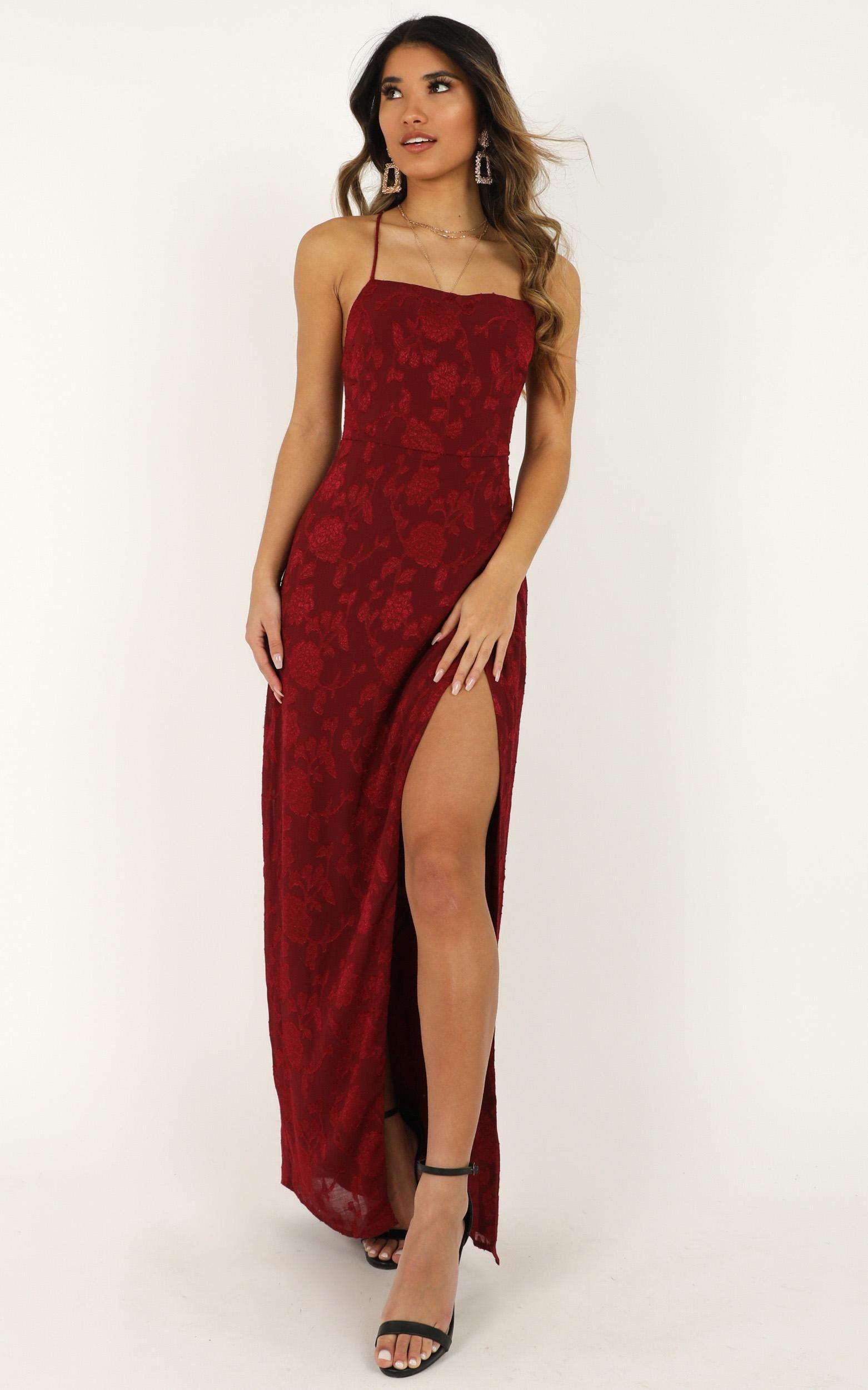 They Crisscrossed Maxi Dress In Wine Jacquard Showpo Dresses Maxi Dress Gorgeous Maxi Dresses [ 2500 x 1562 Pixel ]